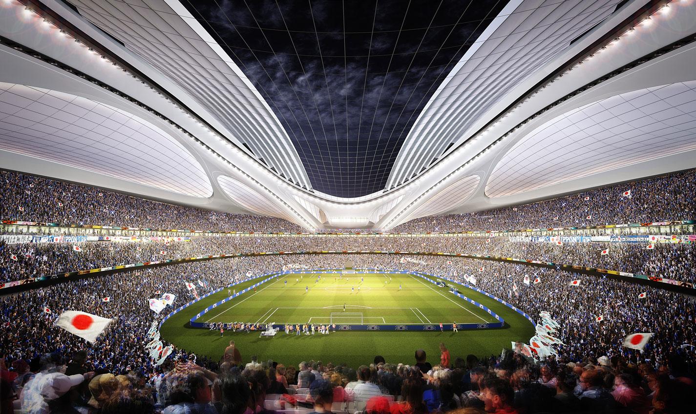 d couvrez le futur stade olympique de tokyo. Black Bedroom Furniture Sets. Home Design Ideas